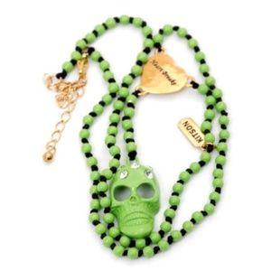 "Skull Pendant Necklace 19"" Chain Kitson Rhinestone"